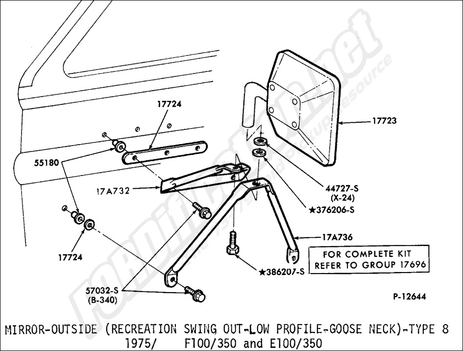 ford truck part numbers (mirrors and related parts) fordification net Outside Rear View Mirror Powered Switch mirror, outside (recreation swing out low profile goose neck) type 8 1975 1979 f100 350 and