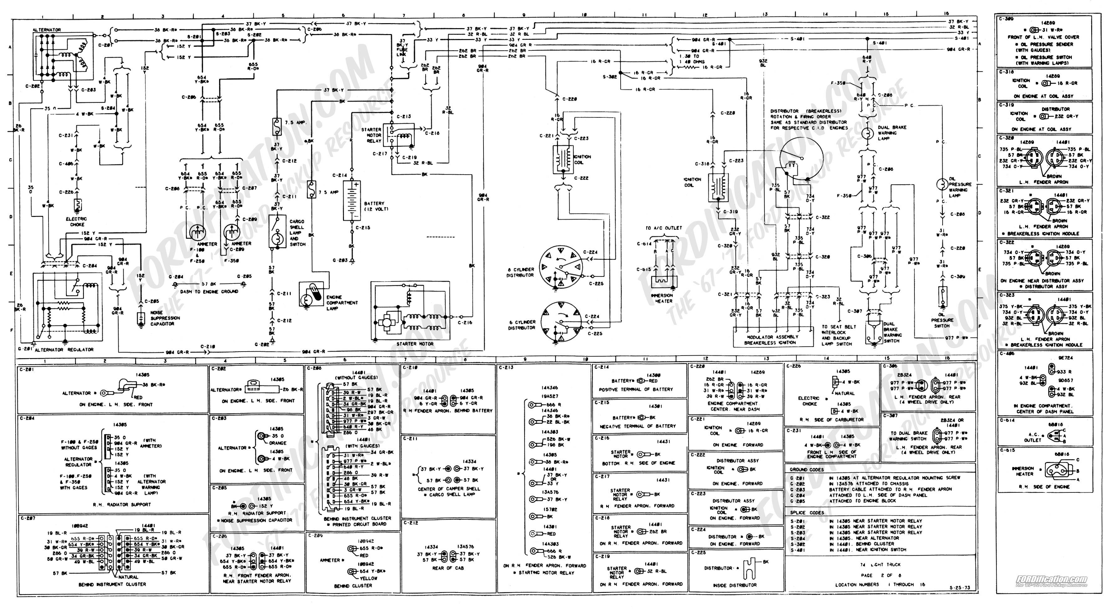 wiring_74master_2of8 1973 1979 ford truck wiring diagrams & schematics fordification net on 74 f350 alternator wiring diagram