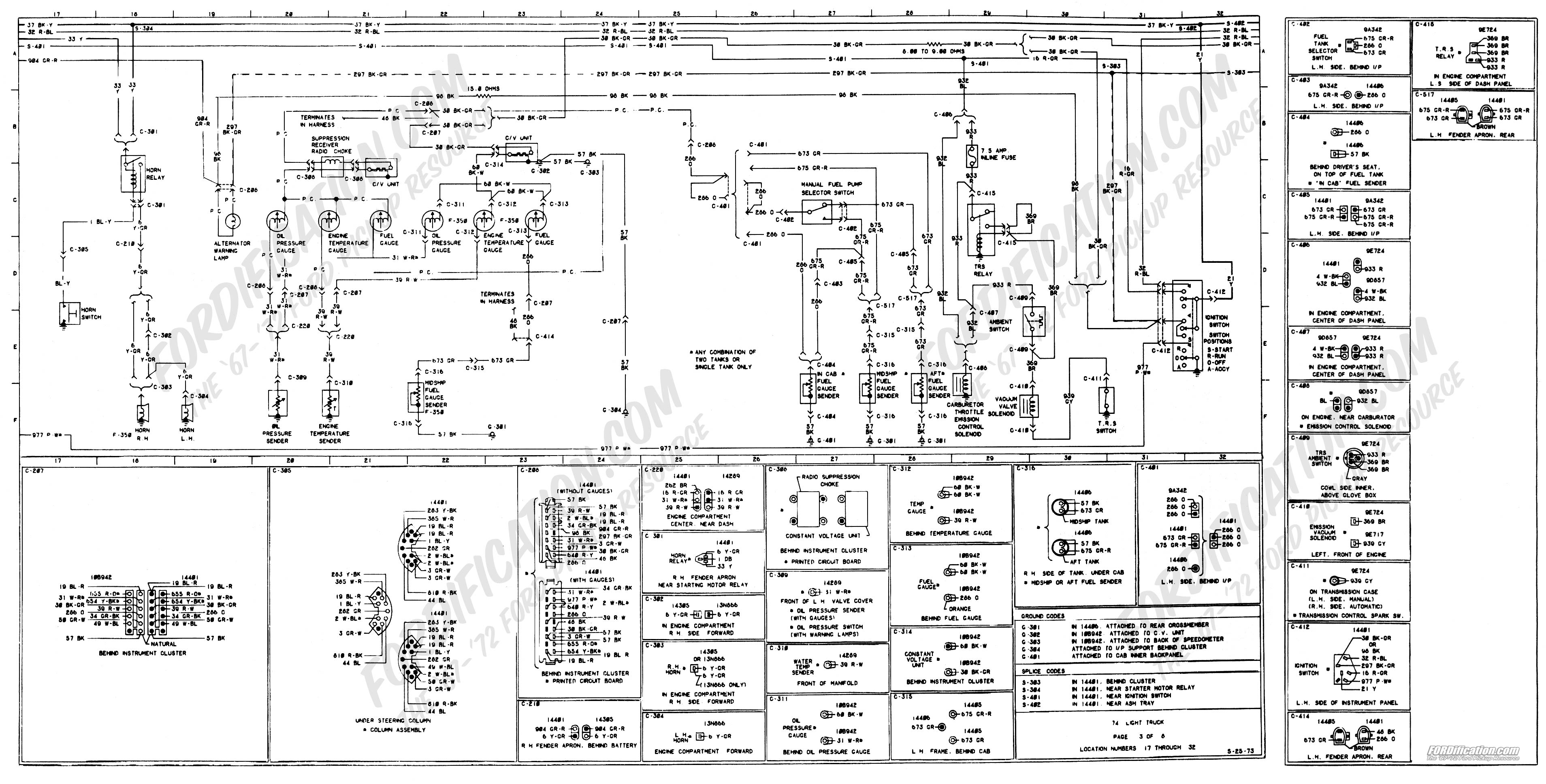 wiring_74master_3of8 1973 1979 ford truck wiring diagrams & schematics fordification net In a 98 Dodge Dakota Wiring Harness at n-0.co