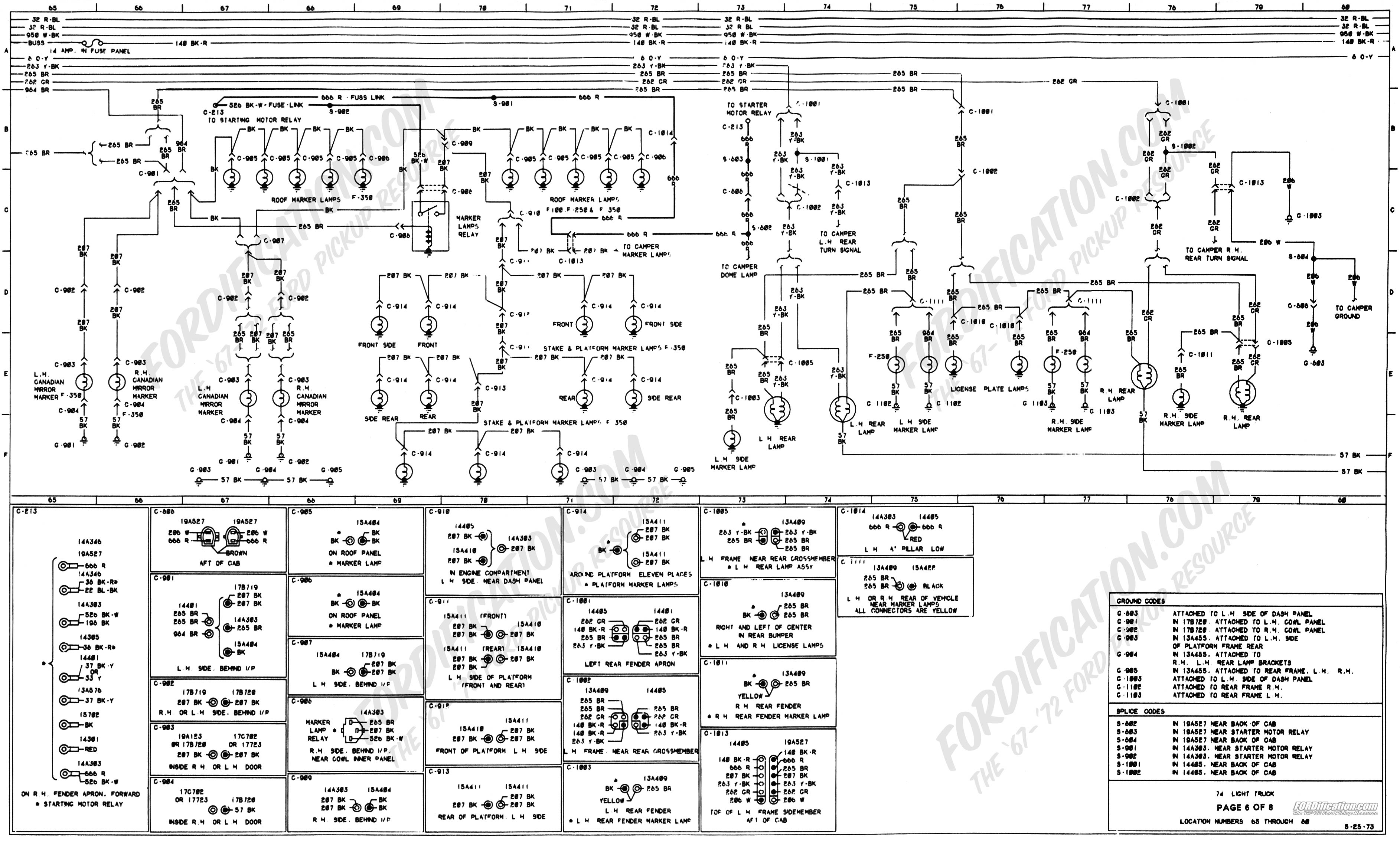 wiring_74master_6of8 1973 1979 ford truck wiring diagrams & schematics fordification net 1973 ford f 250 fuse box at webbmarketing.co