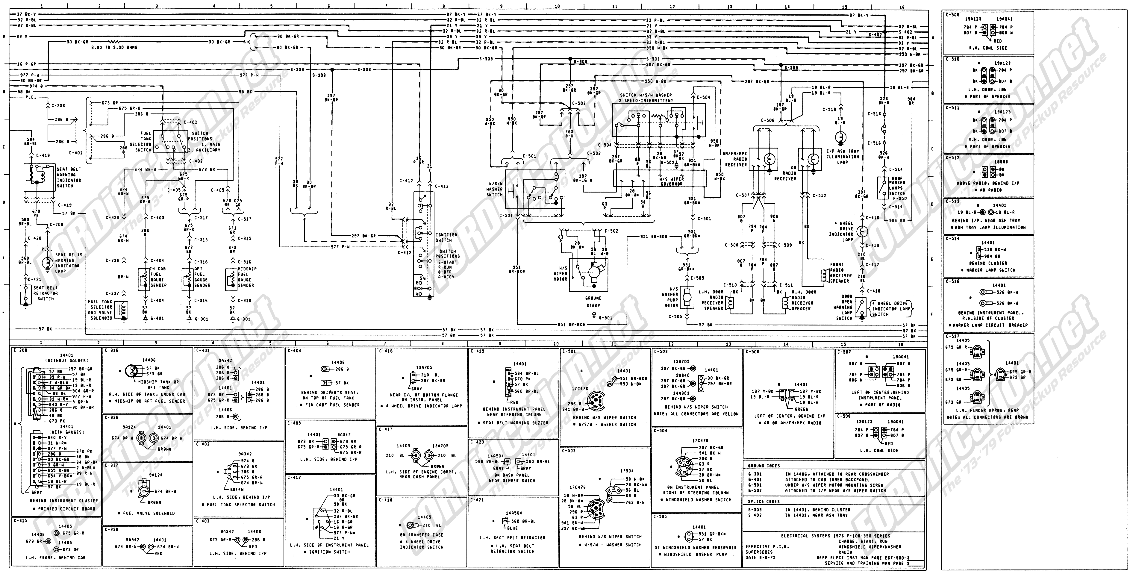 wiring_76master_3of9 1973 1979 ford truck wiring diagrams & schematics fordification net Ford Ranger AC Wire Diagram at bayanpartner.co