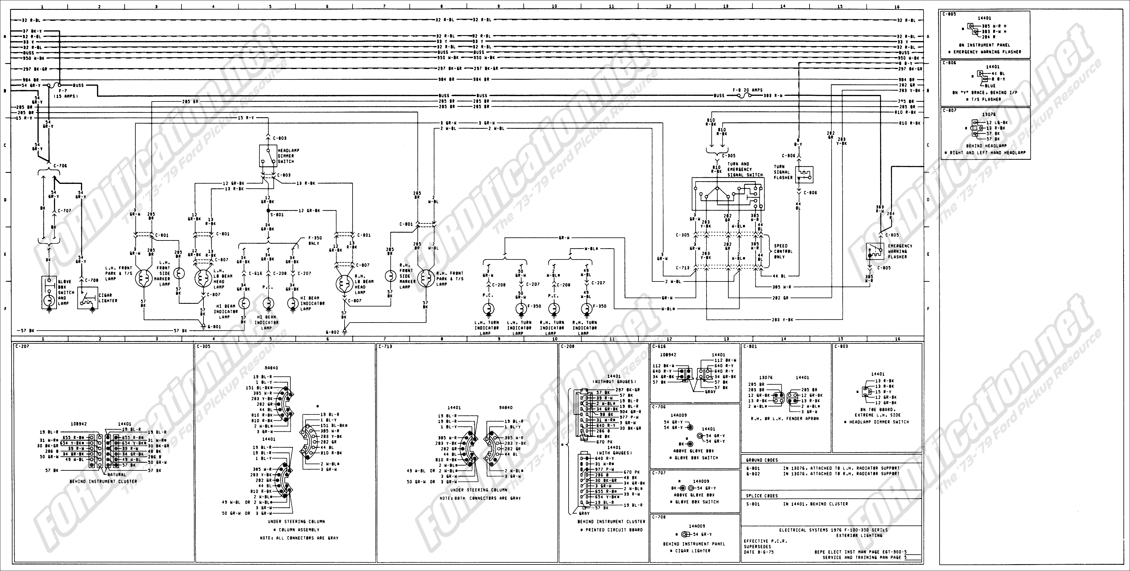 wiring_76master_5of9 1973 1979 ford truck wiring diagrams & schematics fordification net Ford Mirror Wiring Harness at gsmx.co
