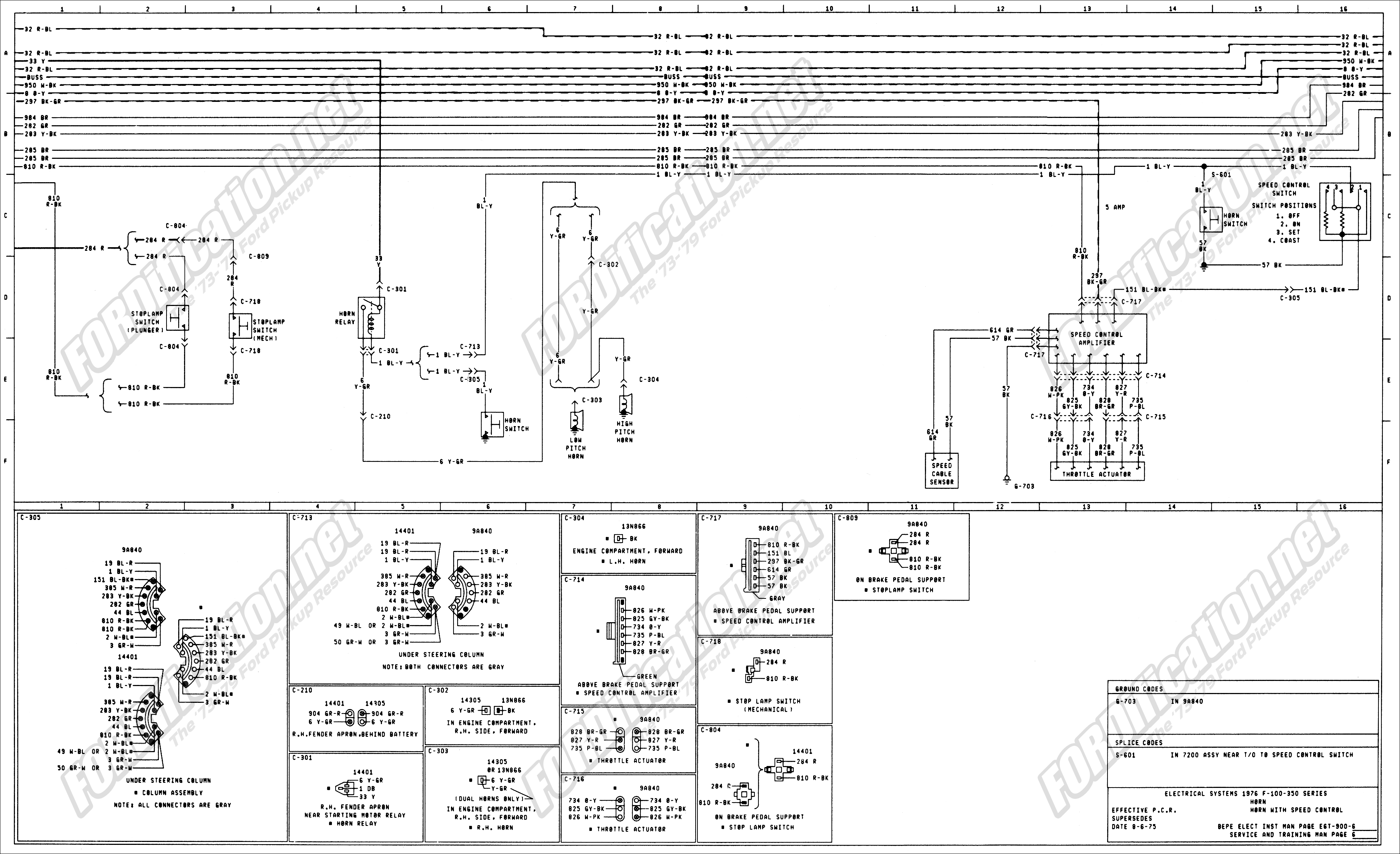 wiring_76master_6of9 1973 1979 ford truck wiring diagrams & schematics fordification net Chevy Ignition Switch Wiring Diagram at bakdesigns.co
