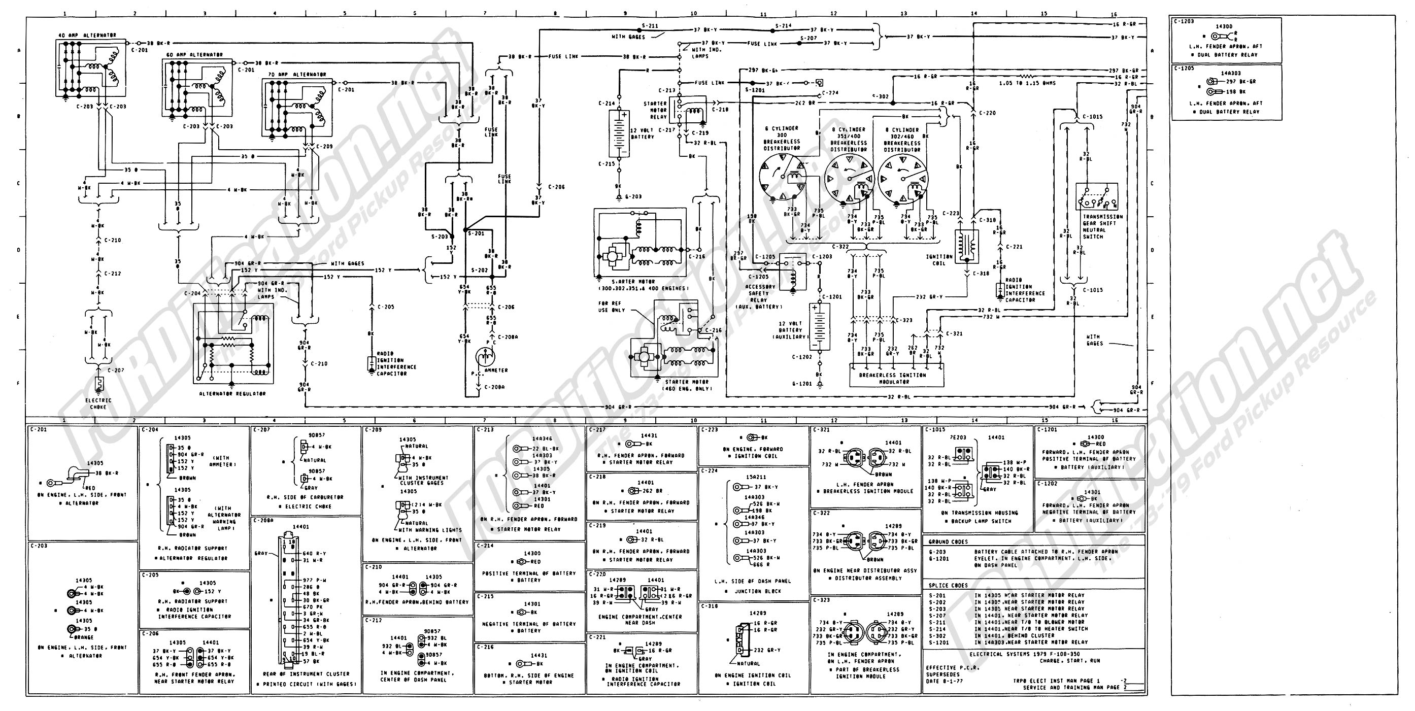 wiring_79master_2of9 1973 1979 ford truck wiring diagrams & schematics fordification net Ford 3 Wire Alternator Diagram at soozxer.org
