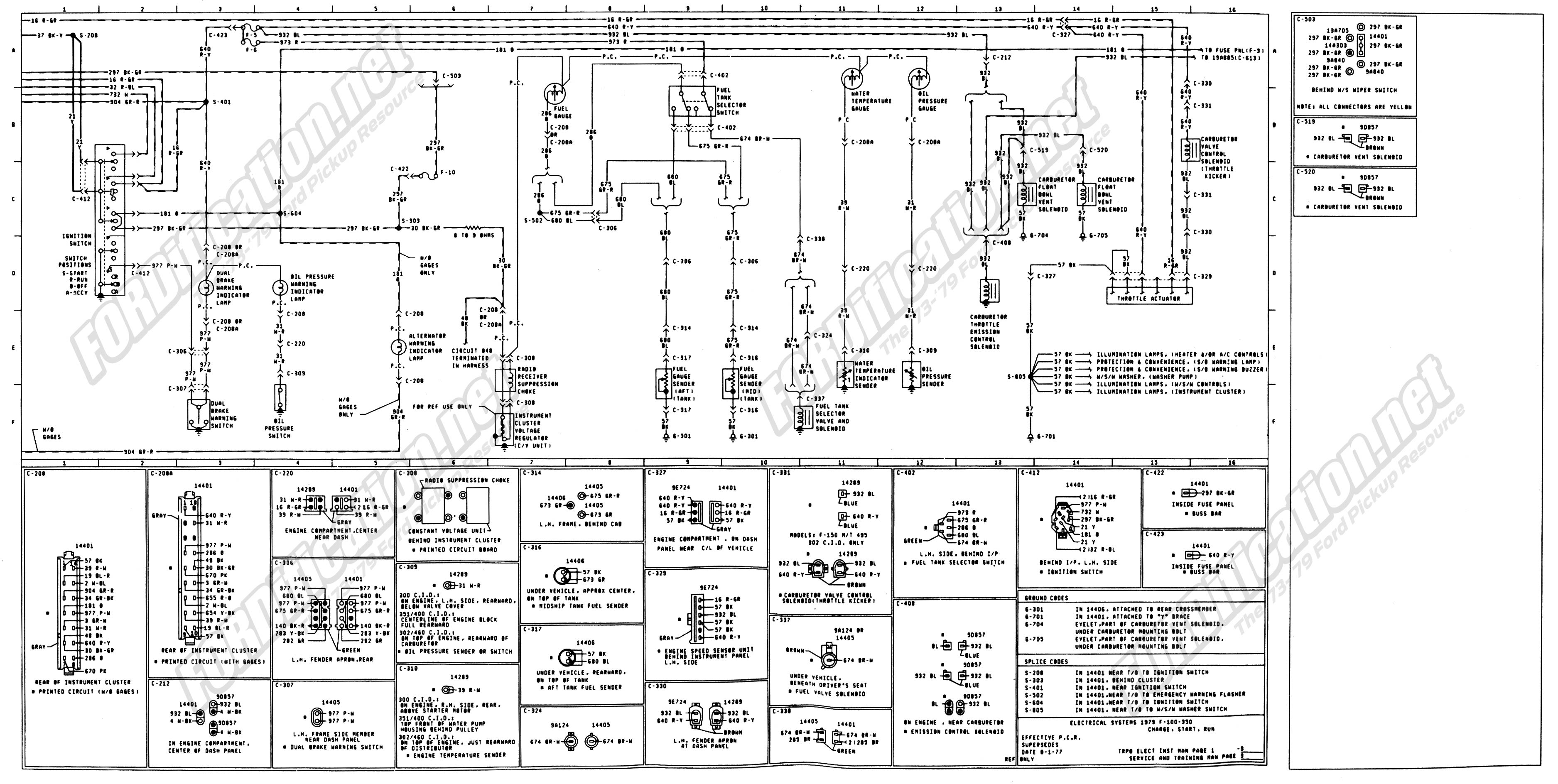 wiring_79master_3of9 1973 1979 ford truck wiring diagrams & schematics fordification net Ford F-350 Engine Schematic at mifinder.co