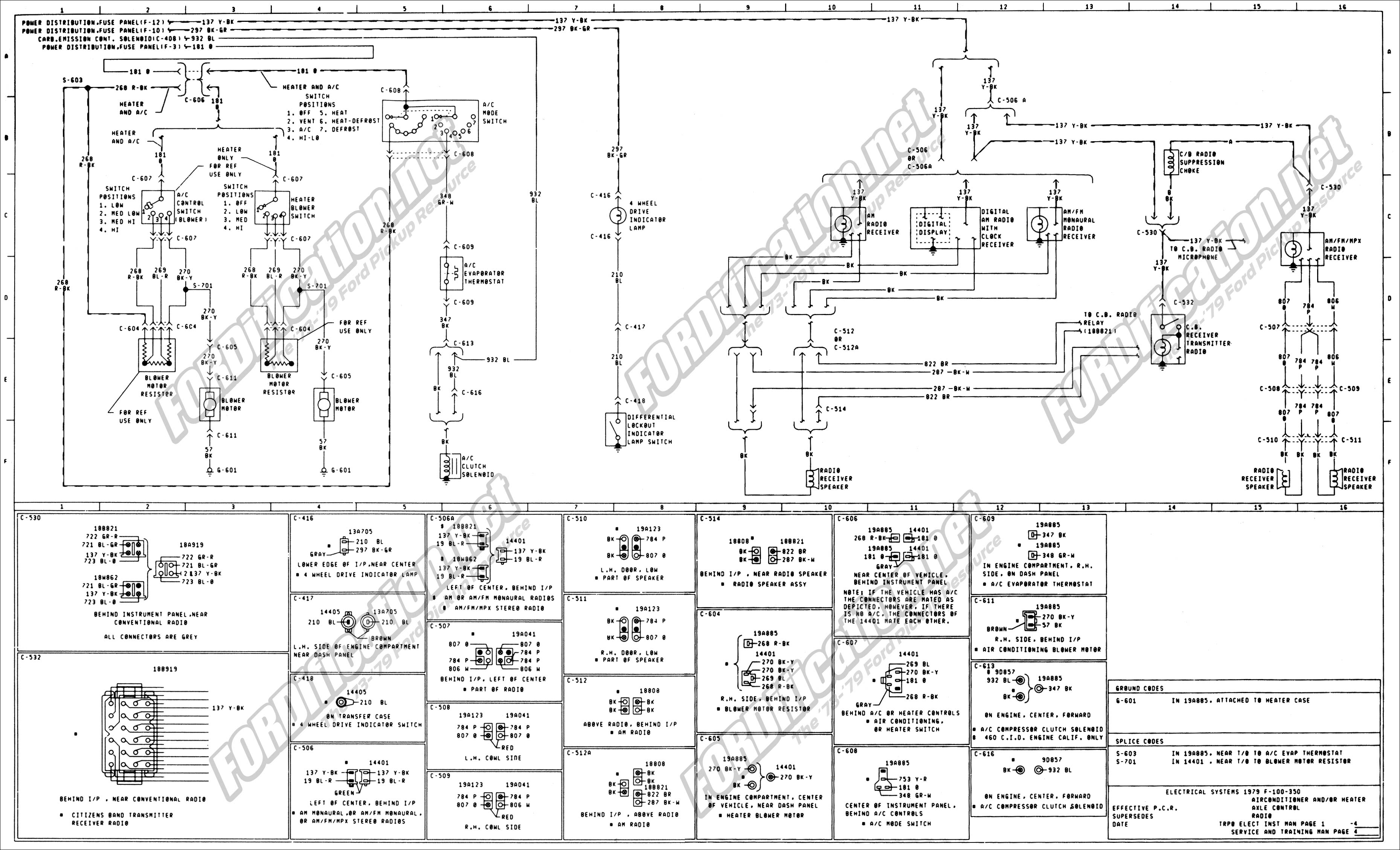 wiring_79master_4of9 1973 1979 ford truck wiring diagrams & schematics fordification net 1979 Corvette Fuse Box Diagram at bayanpartner.co