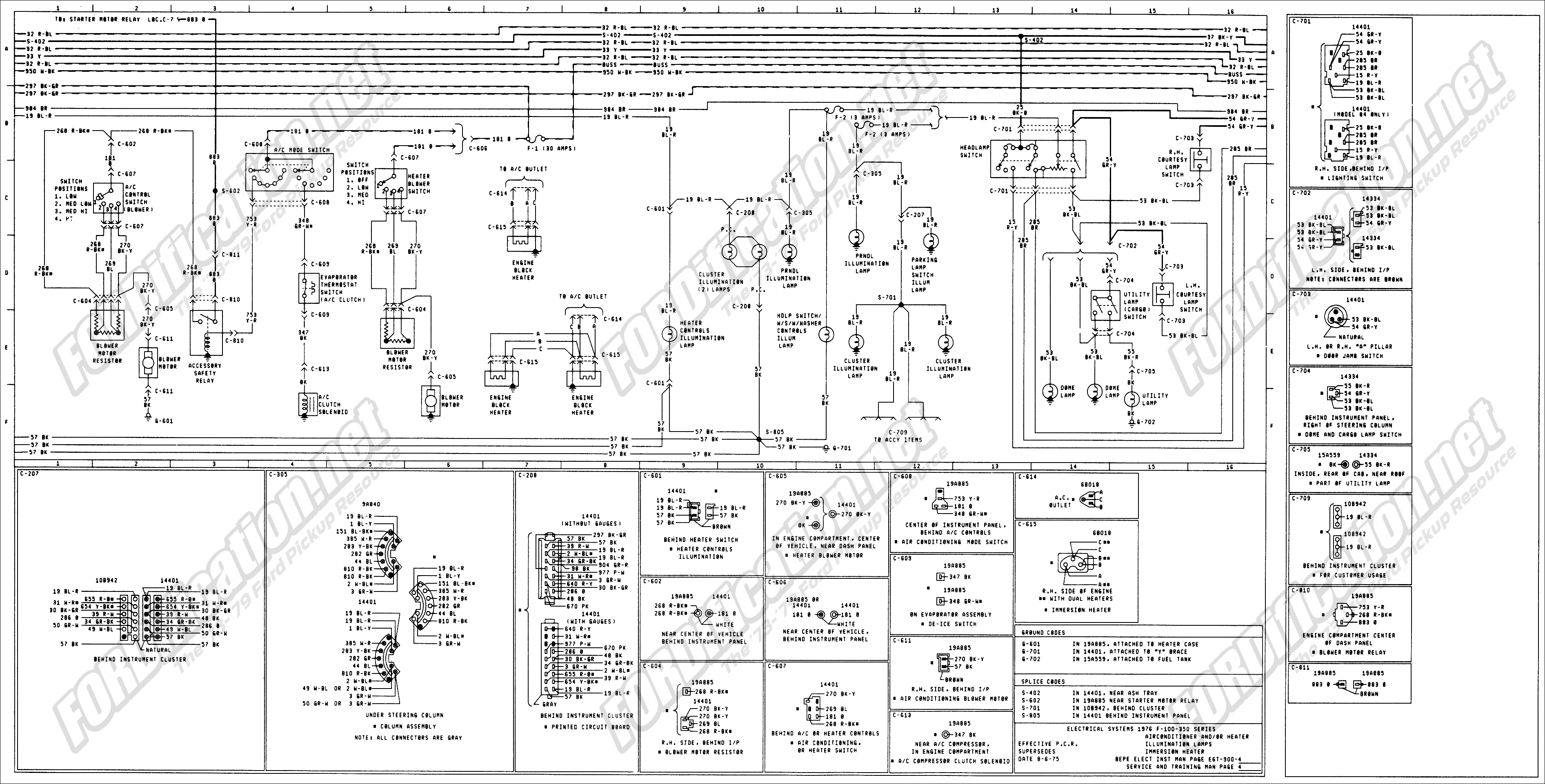 1973 1979 ford truck wiring diagrams schematics fordification net rh  fordification net 1976 ford f150 wiring diagram