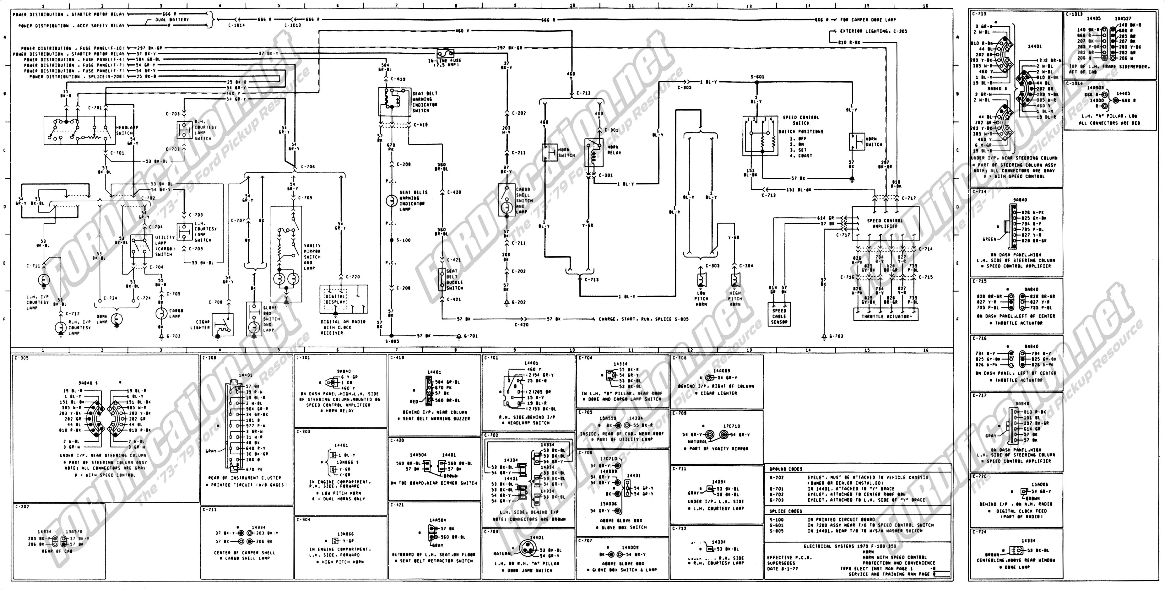 1973 1979 ford truck wiring diagrams schematics fordification net rh  fordification net 1974 ford f250 wiring diagram 1974 ford alternator wiring  diagram